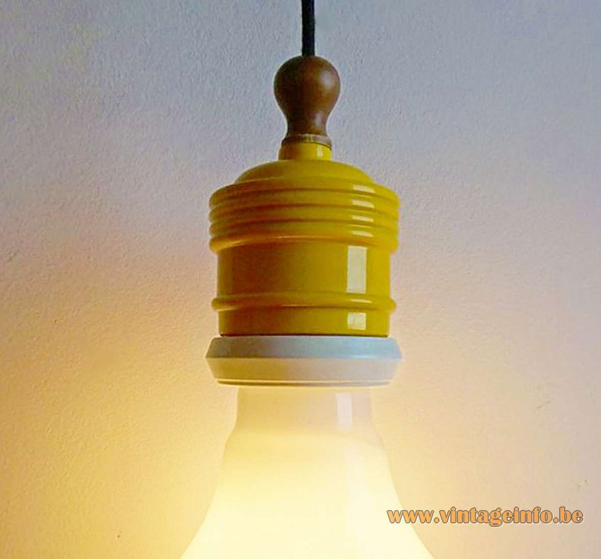 Metalarte Bulb Pendant Lamp white opal globe yellow and white painted metal wood top brass parts 1970s 1980s