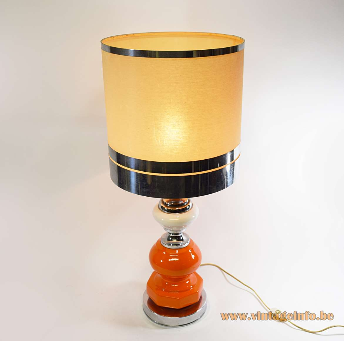 Ceramics table lamp orange white chrome base geometric hexagonal Barbier style globe Massive 1960s 1970s MCM Mid-Century Modern