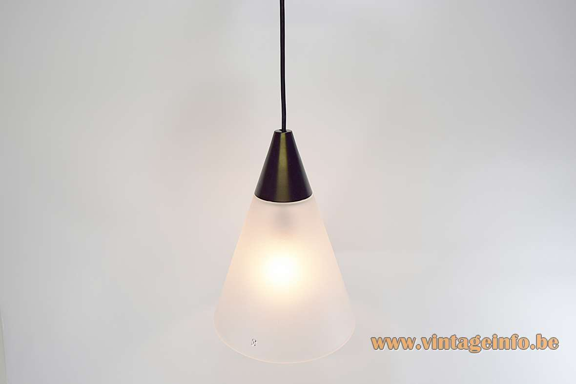 Peill + Putzler frosted cone pendant lamp hand blown glass black conical aluminium top 1970s MCM