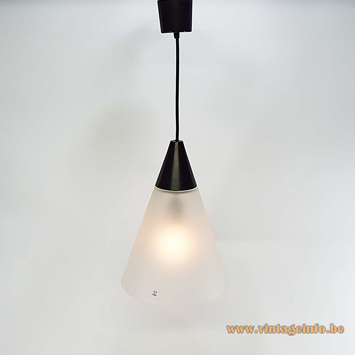 Peill + Putzler frosted cone pendant lamp hand blown glass black conical plastic top 1970s MCM