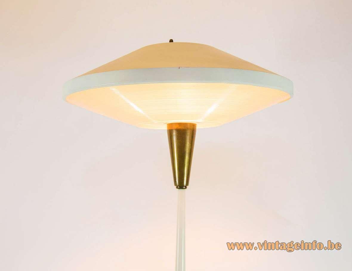 Philips NX 546 floor lamp Louis Kalff UFO lampshade brass base plastic diffuser 1950s 1960s MCM Mid-Century Modern