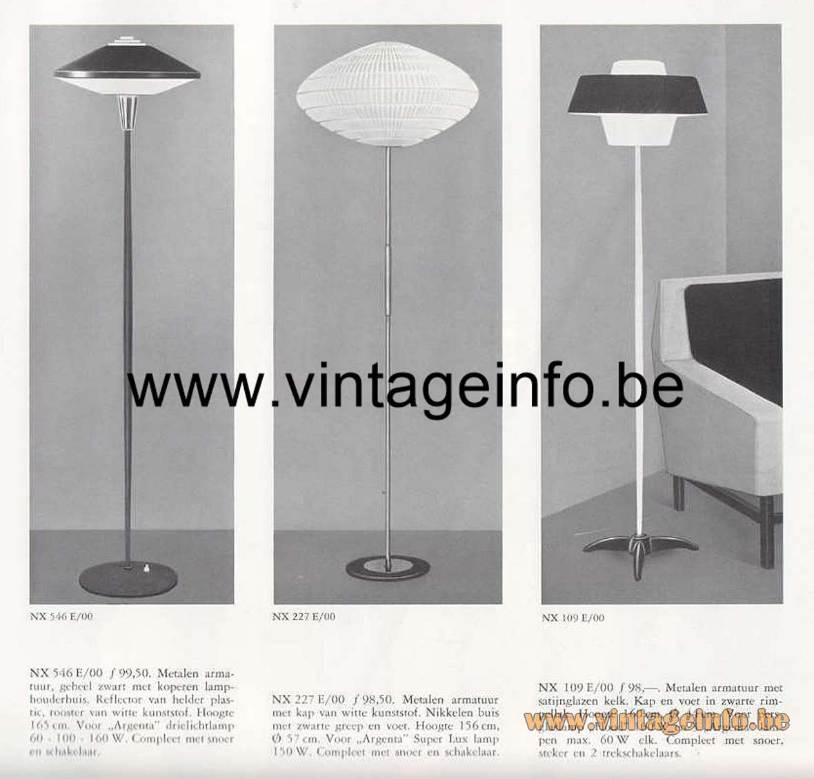 Philips NX 546 E/00 Floor Lamp round UFO lampshade brass round base plastic diffuser 1950s 1960s
