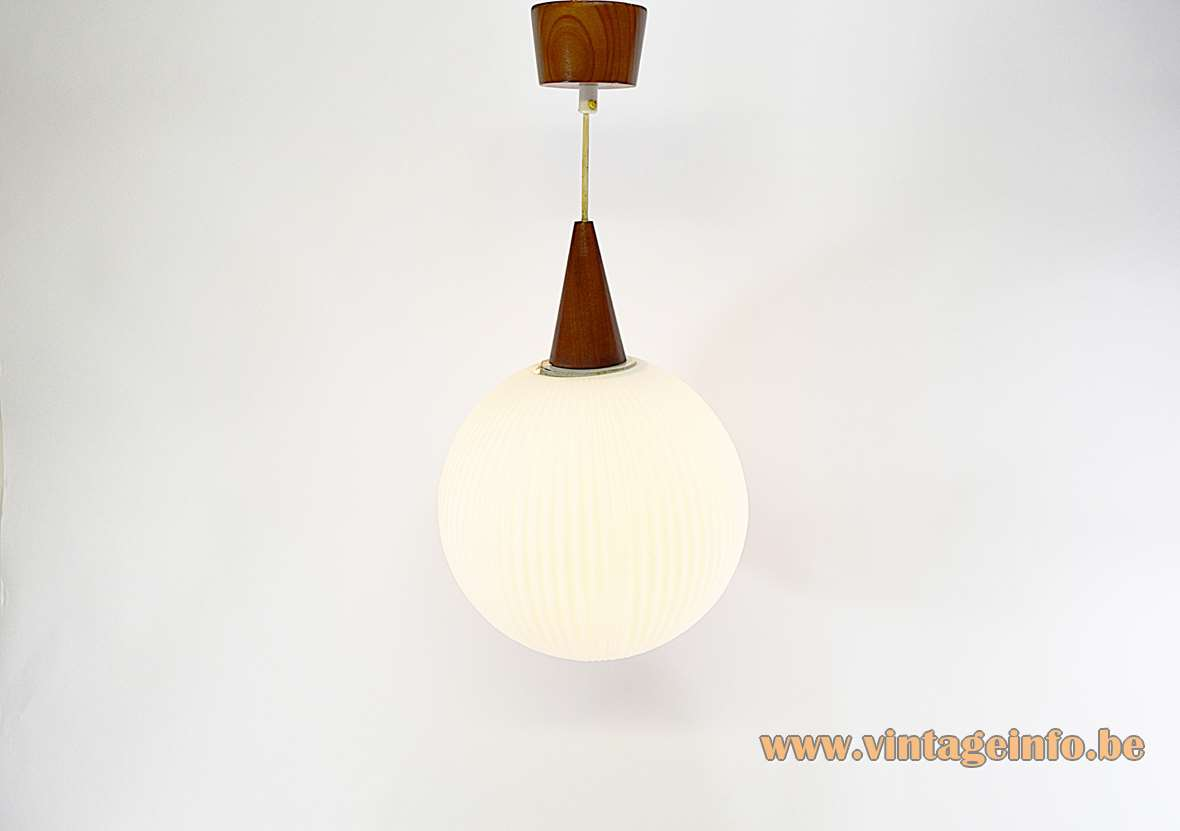 Philips opal glass globe pendant lamp ribbed white glass conical wood top and canopy 1950s 1960s