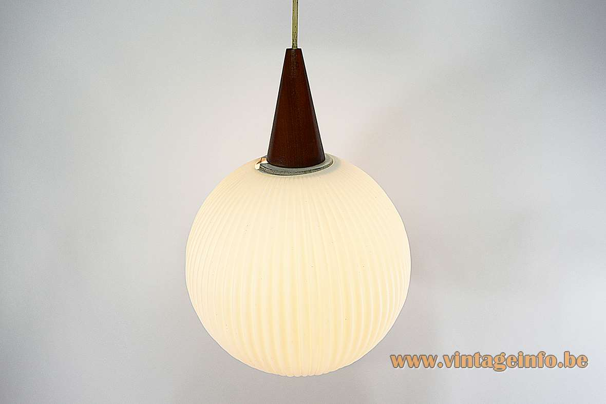 Opal glass globe pendant lamp ribbed Philips white conical wood top and canopy 1950s 1960s MCM Mid-Century Modern