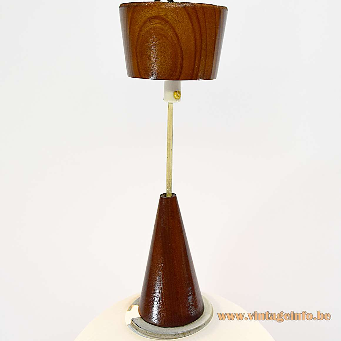 Philips white opal ribbed glass globe pendant lamp 1950s 1960s conical wood top and canopy MCM
