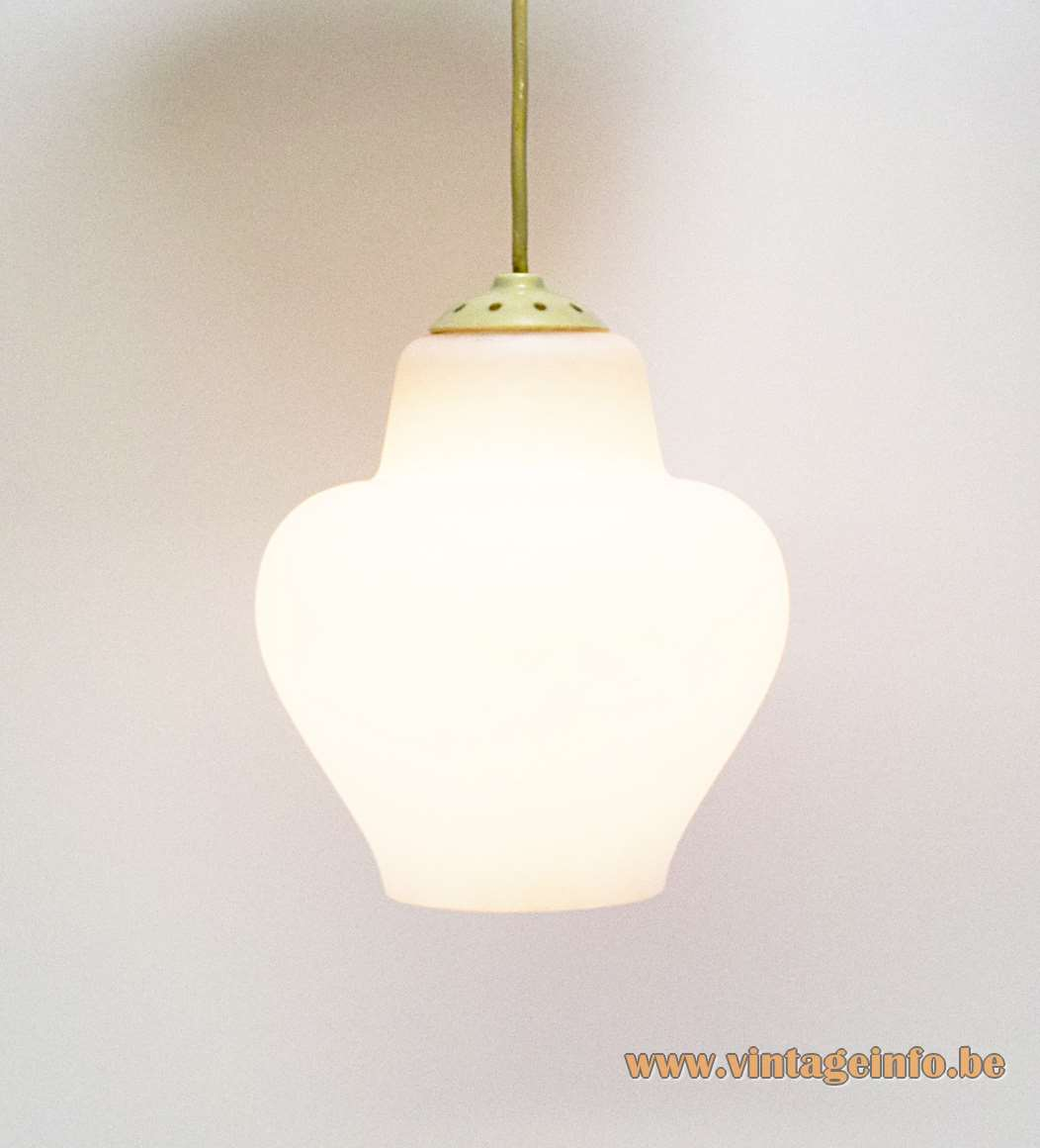 Philips Opal Glass Pendant Lamp 1950s 1960s white milky bell form metal parts MCM