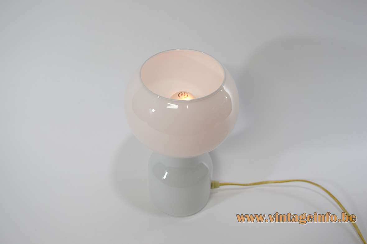 Philips Tobrouk table lamp round white opal glass base globe lampshade design: Jean-Paul Emonds-Alt 1970s