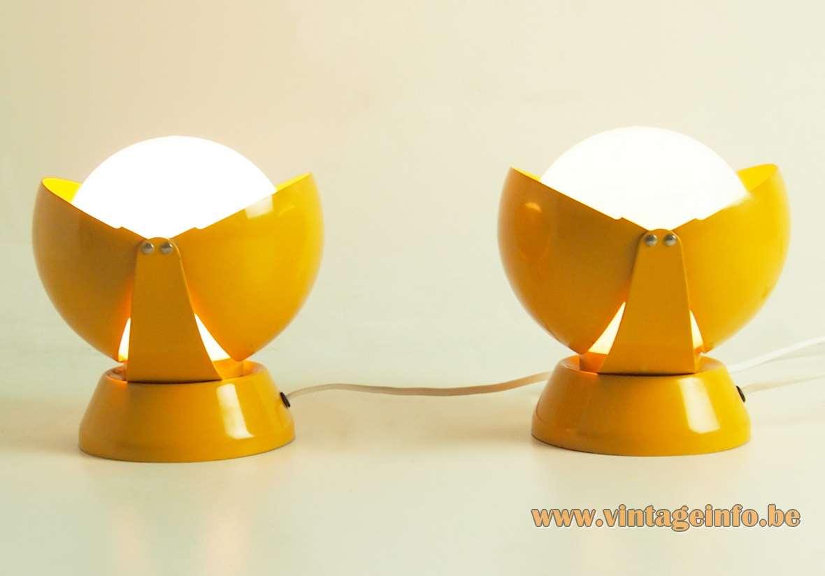 Stilnovo Buonanotte Bedside Lamps Giovanni Luigi Gorgoni 1965 eclipse ocher metal opal white glass globe 1960s 1970s