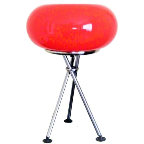 TRIO Leuchten Olympic table lamp chrome tripod base red glass globe lampshade 1990s 2000s Germany