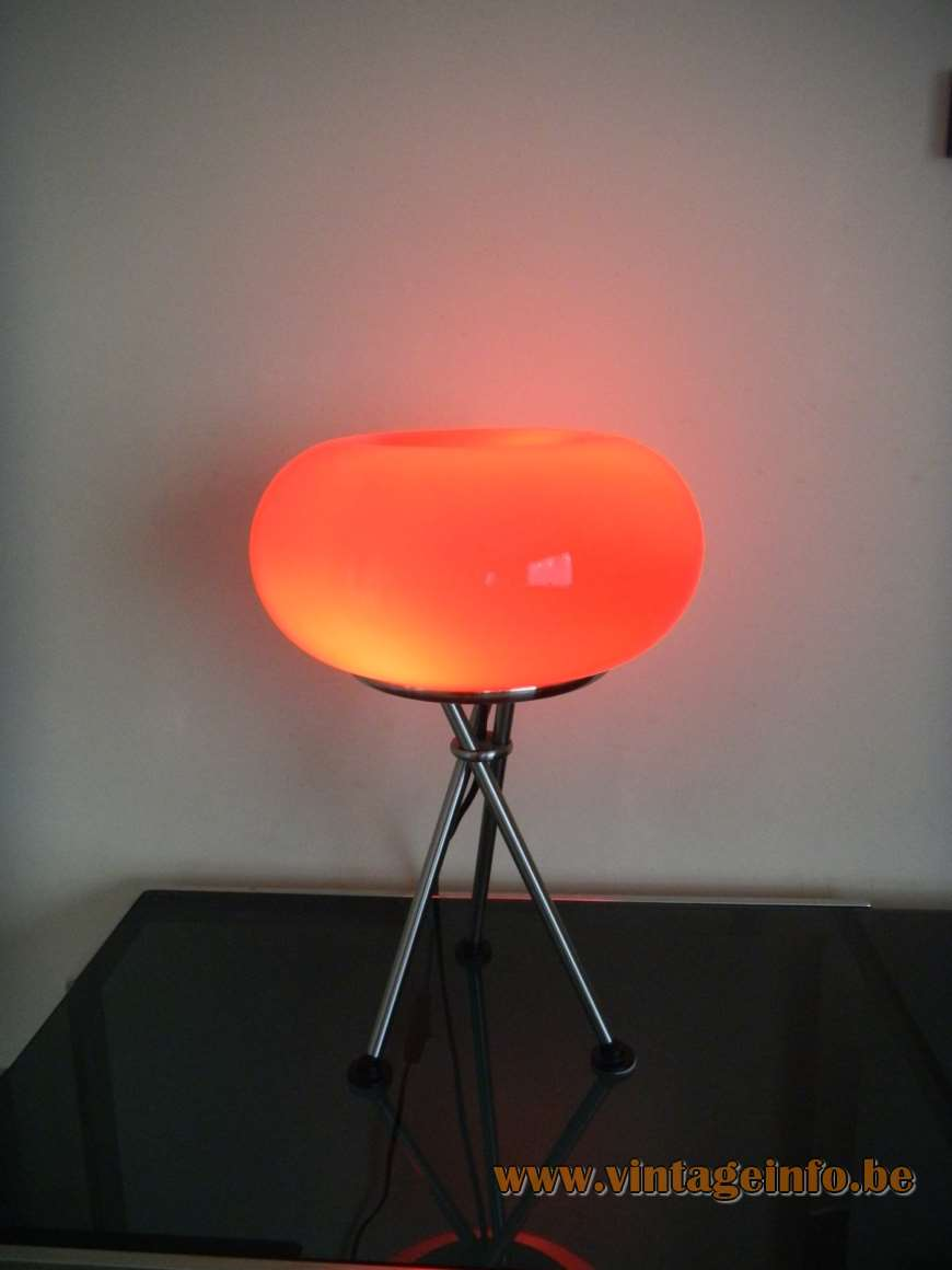 TRIO Leuchten Olympic Table Lamp tripod chrome light red glass globe on top 1990s 2000s