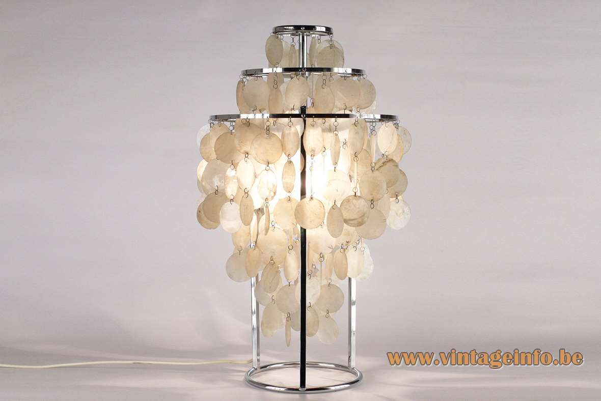 Verner Panton Fun 1 TM Table Lamp design 1964 chrome frame windowpane oyster shells mother of pearl