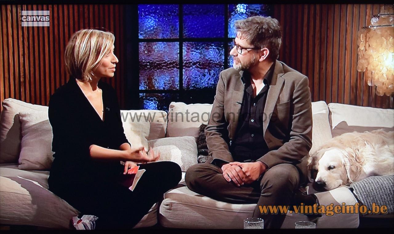 Verner Panton Fun floor lamp used in Winteruur TV show by Wim Helsen for Canvas TV Belgium