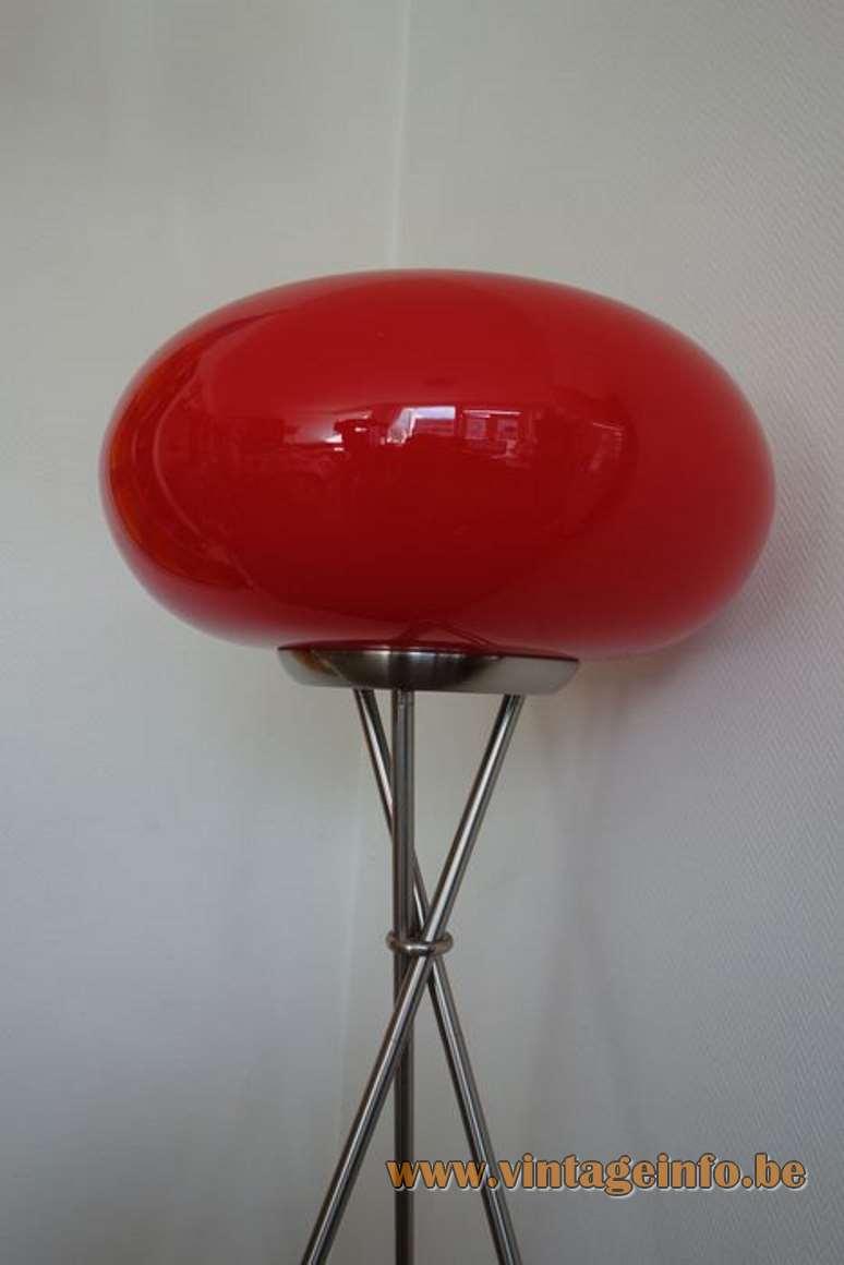Viva Lagoon Olympic floor lamp tripod chrome base red glass globe lampshade 1990s 2000s TRIO Leuchten Germany