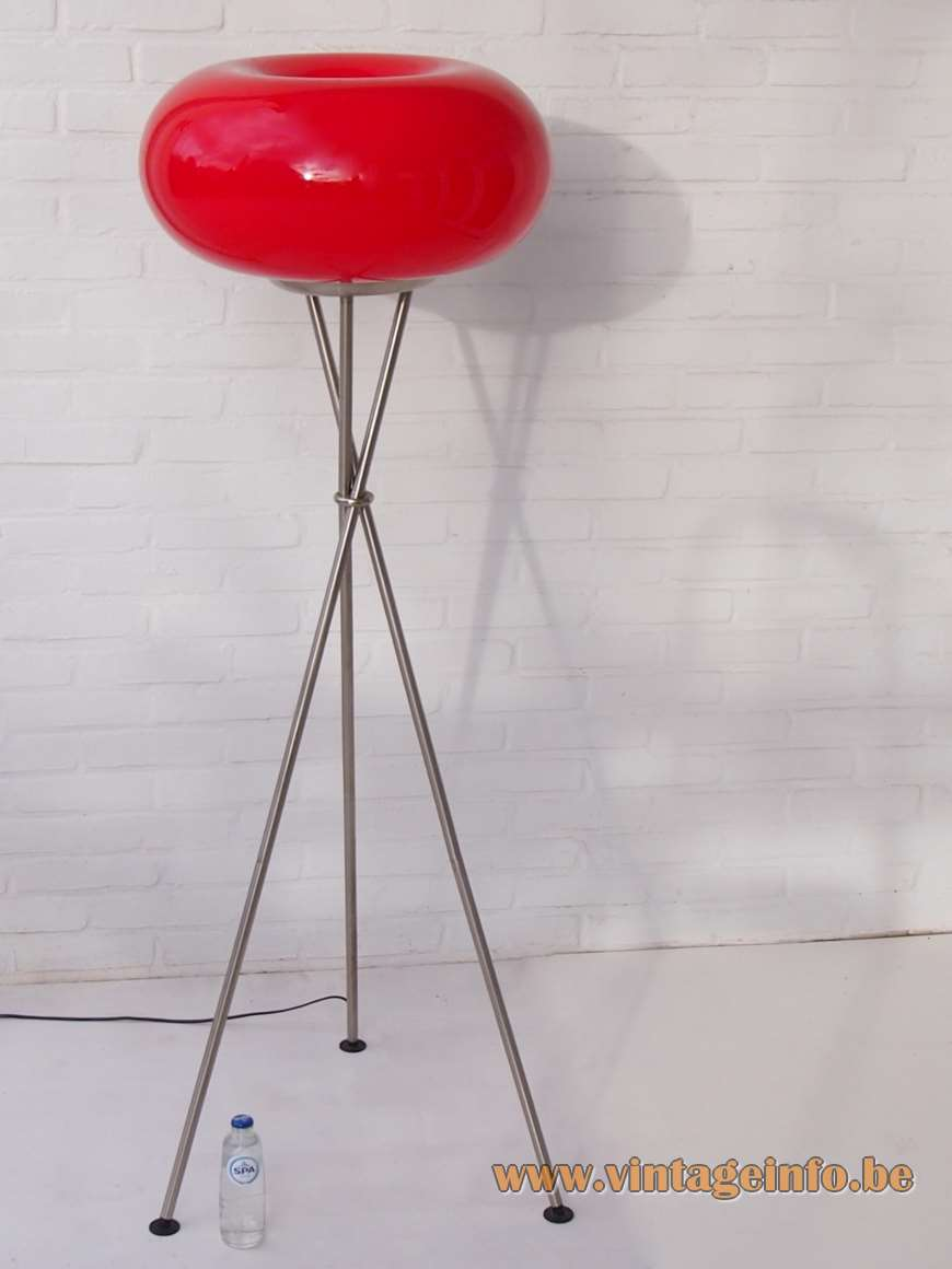 Viva Lagoon Olympic floor lamp tripod chrome base red glass globe lampshade 1990s 2000s TRIO Leuchten Germany
