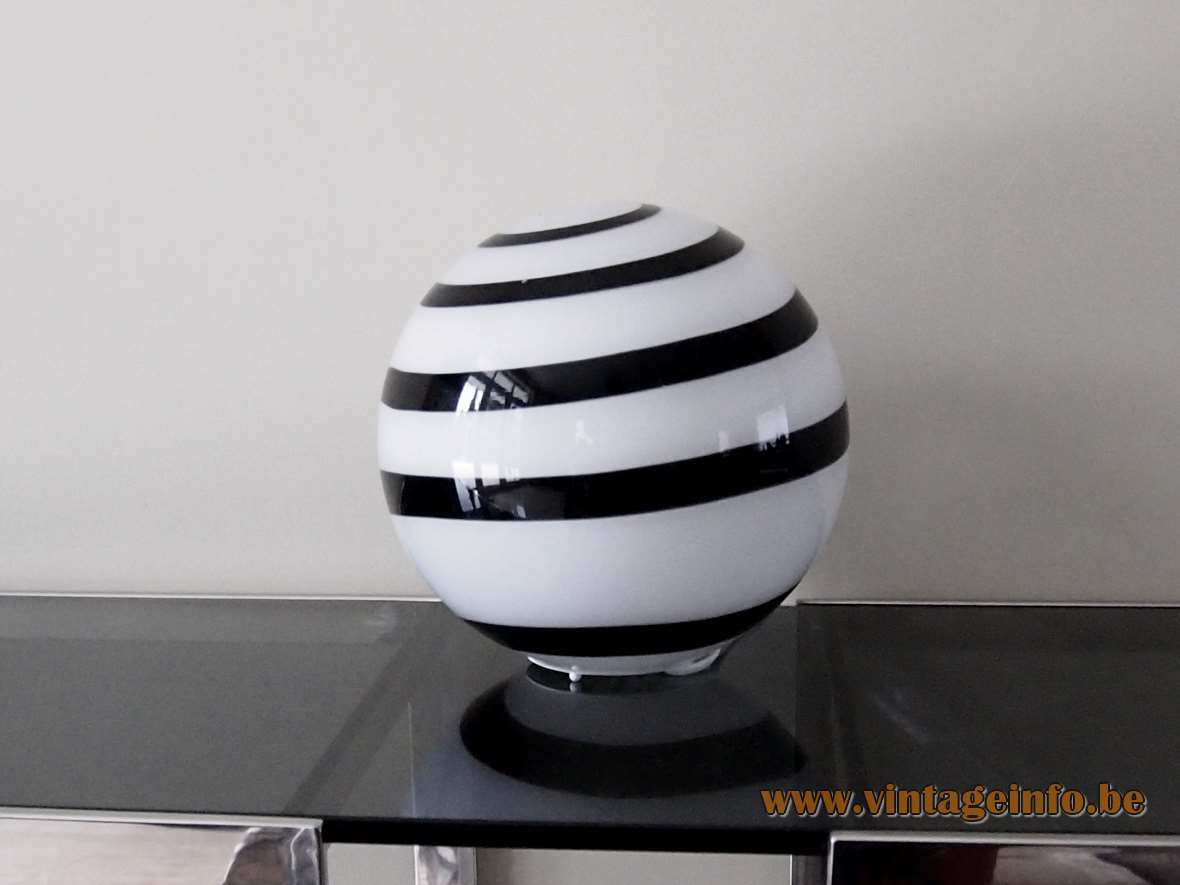 WOFI Leuchten Zebra globe table lamp white lampshade black swirl striped Germany 2000s Ilu Design Eglo