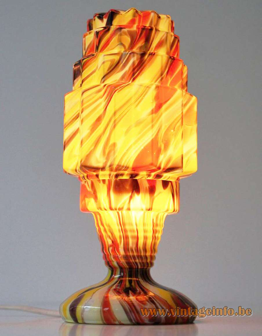 Art Deco skyscraper table lamp in colored spatter glass Czech Republic Bohemia Kralik Welz Scialmont 1930s
