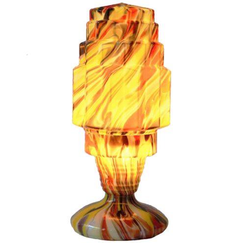 1930s Czech Kralik table lamp art deco skyscraper coloured spatter glass Bohemia Czech Republic Welz Scialmont