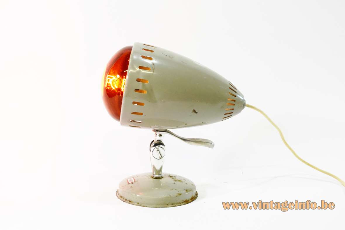 1960s Infrared Table Lamp grey painted metal round base Tungsram 250 watt light bulb 1950s MCM
