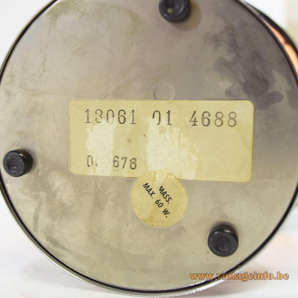 1970s Chrome Black Table Lamp globe candle Purple tube lampshade chrome ribbon Massive Belgium