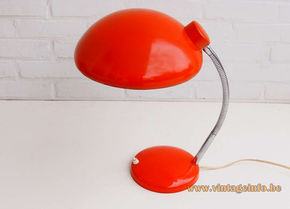 1970s Massive Bauhaus style desk lamp red base chrome rod & gooseneck round red lampshade Kaiser Idell