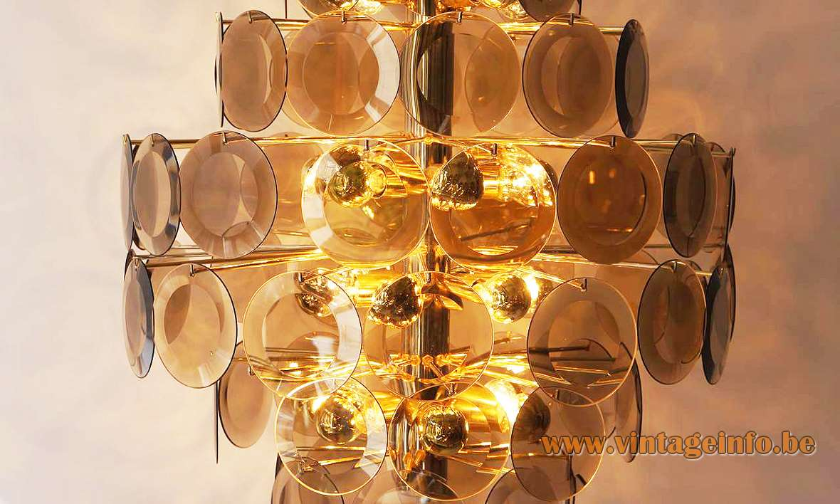 1970s smoked cut glass discs chandelier 71 dishes facet-cut brass wire frame rod ORION Austria 1980s