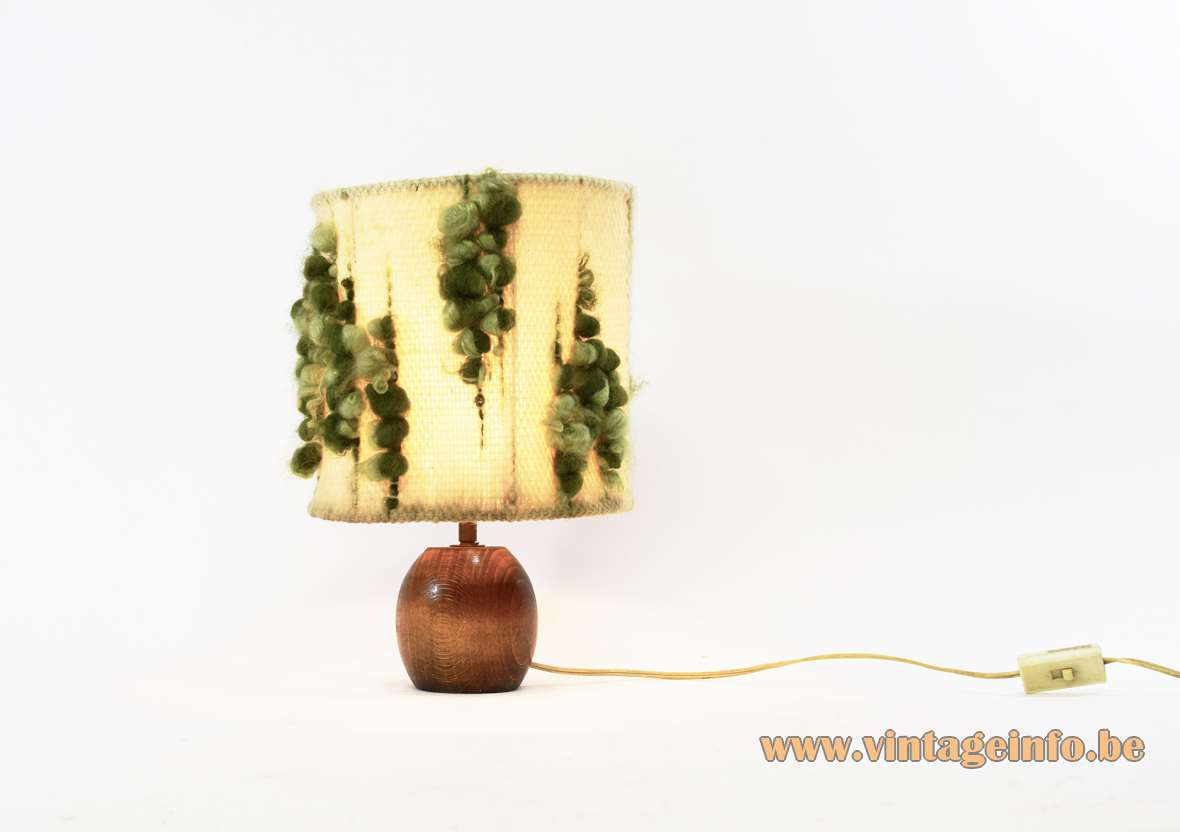 1970s Wool Table Lamp round hollowed out wooden base round handmade fabric lampshade MCM 1970s