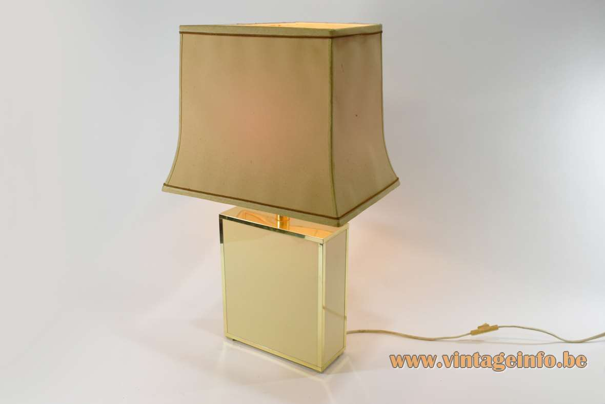 1980s pagoda table lamp cream beam base brass rims fabric lampshade Le Dauphin France 1970s