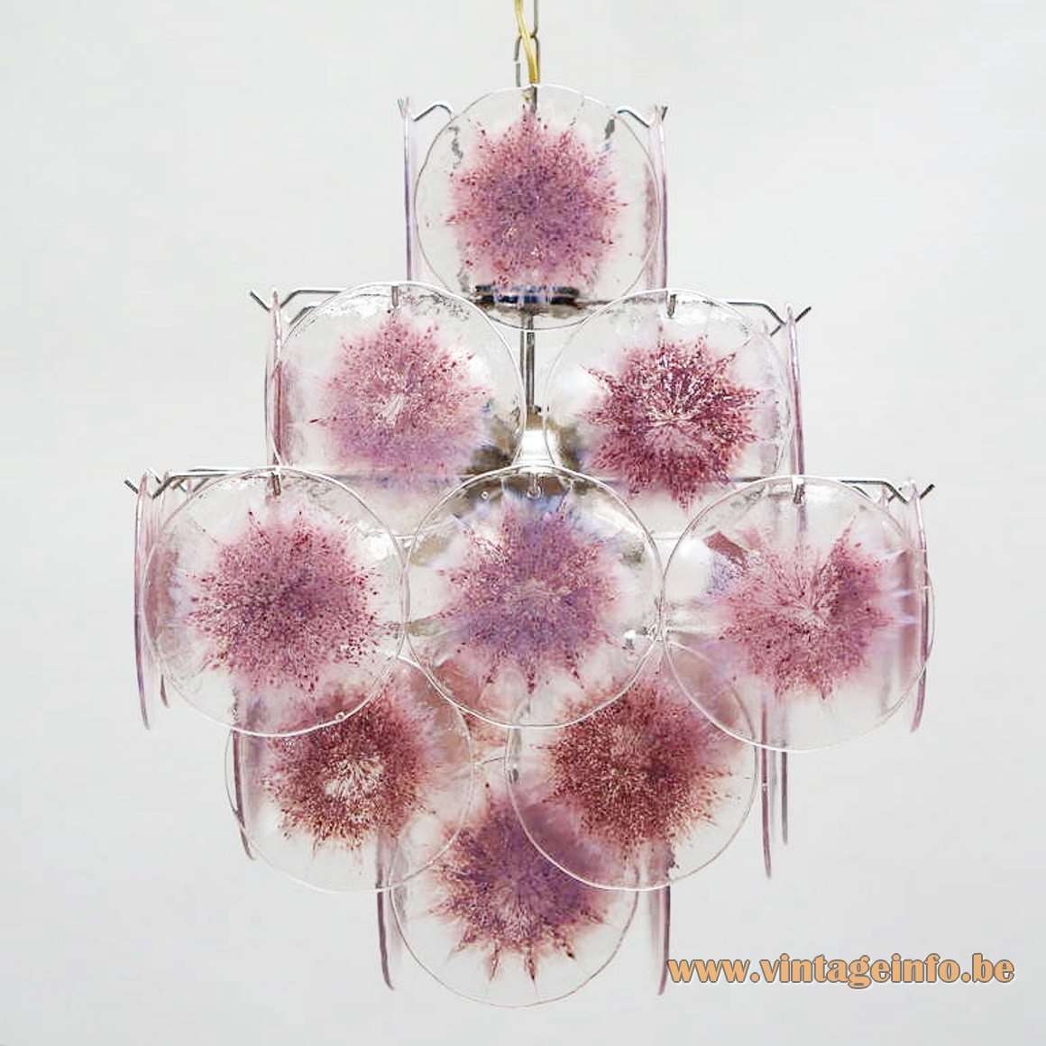 36 Discs Murano chandelier pink-purple glass dishes chrome wire frame AV Mazzega Vistosi 1960s 1970s