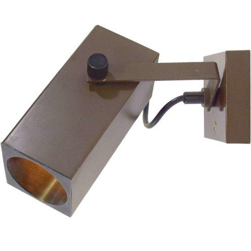 Adjustable spotlight wall lamp adjustable brown beam tube lampshade square base black plastic 1970s Philips Netherlands