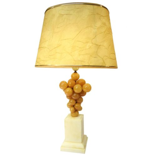 Alabaster bunch of grapes table lamp square Carrara marble base 1960s 1970s France Italy Hollywood Regency