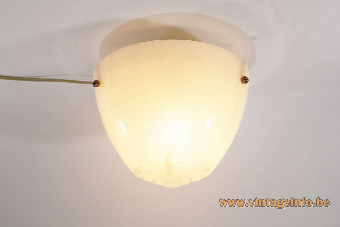Arnold Wiigs Fabrikker flush mount embossed acrylic plastic lampshade round grid ornamental screws 1950s 1960s Norway