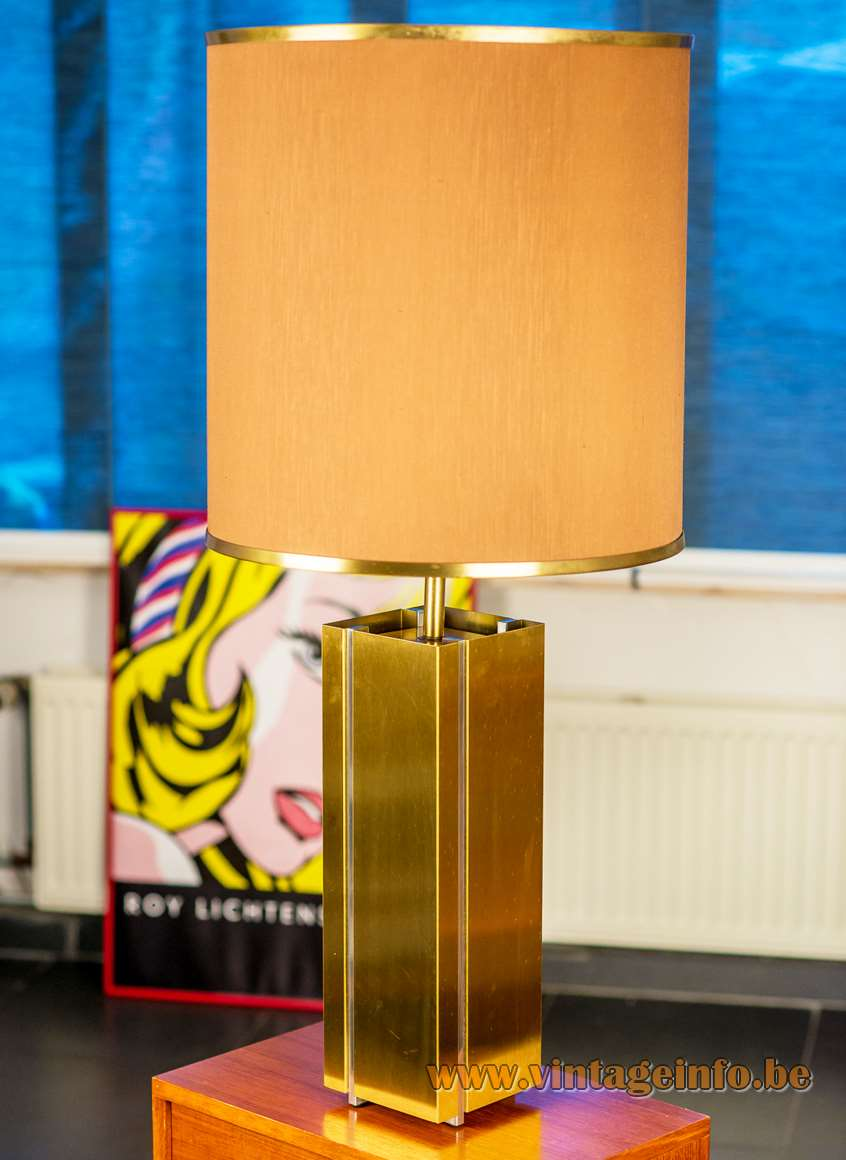 Huge brass and chrome table lamp designed by Gaetano Sciolari in the 1970s Made Italy MCM