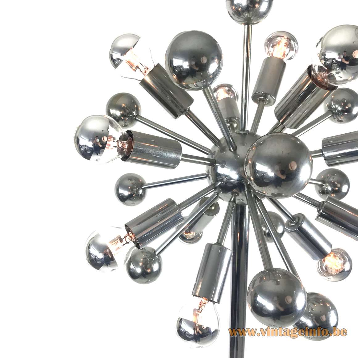 Cosack sputnik floor lamp chrome round base rod lampshade 12 E14 sockets 1960s 1970s Leuchten Germany