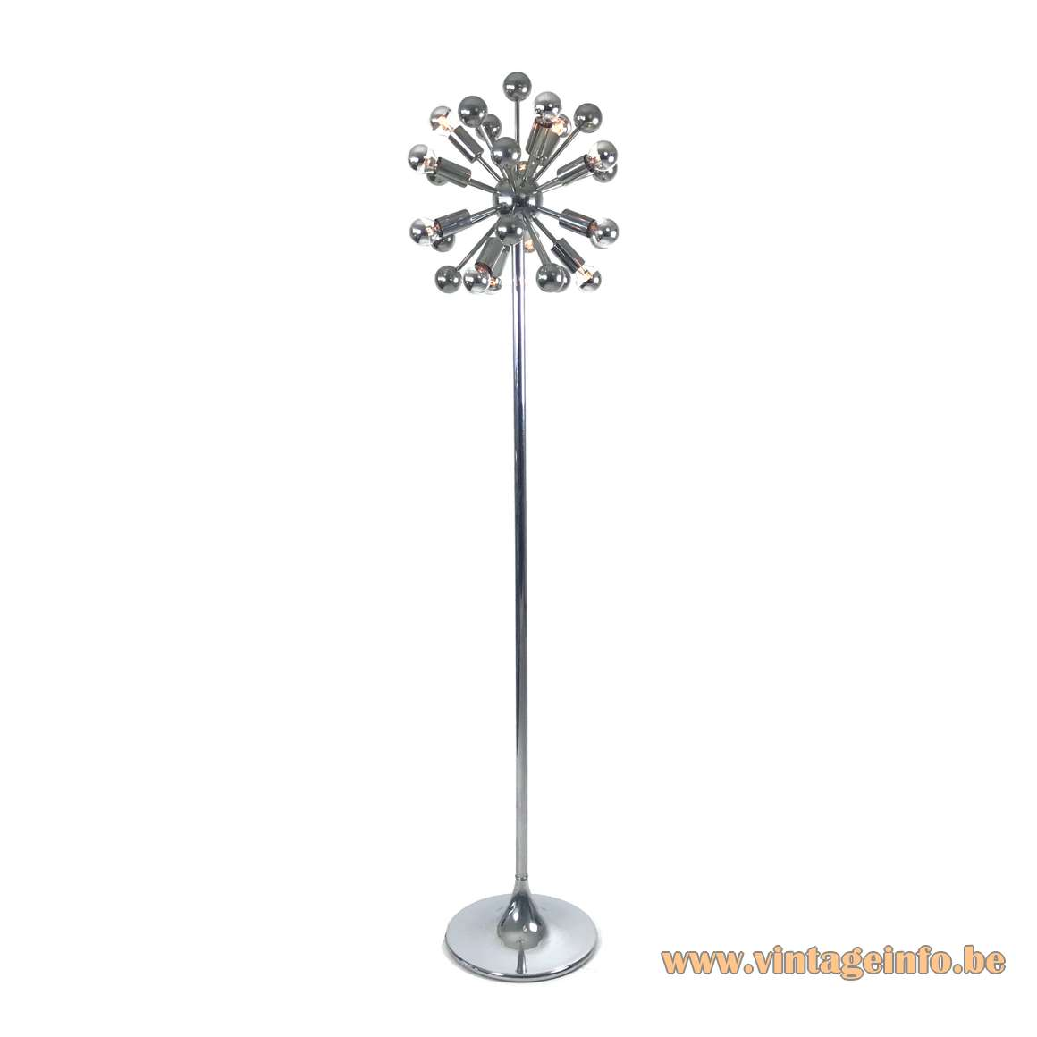 Cosack sputnik floor lamp completely made of chrome 12 e14 light bulbs Germany MCM 1960s 1970s