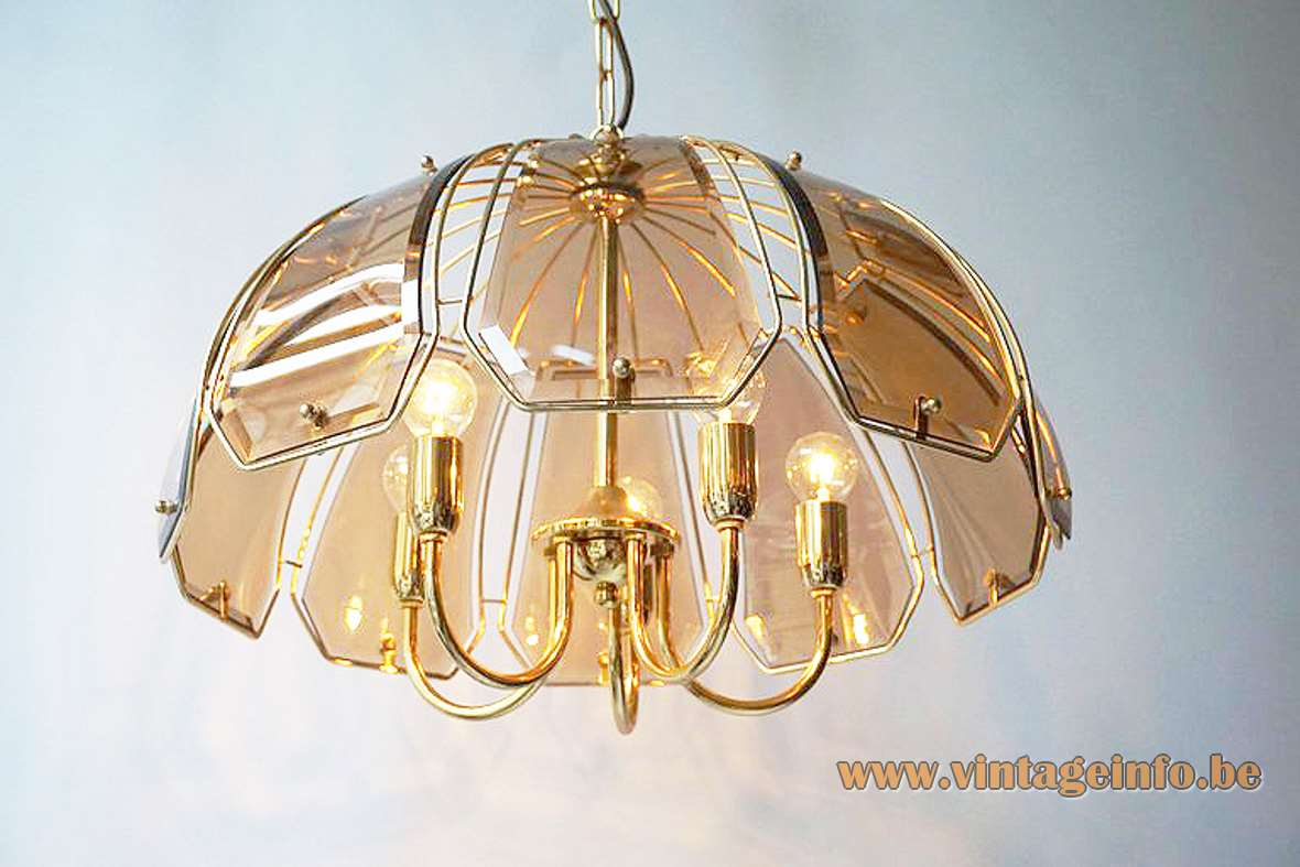 Curved Smoked Glass Discs Chandelier brass frame 5 E27 light bulbs Massive Belgium 1970s 1980s Sische