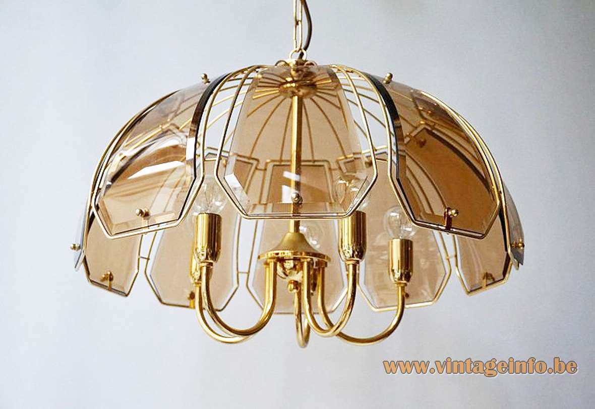 Curved smoked glass discs chandelier brass plated frame & rods Massive Belgium 1970s 1980s Sische 5 sockets