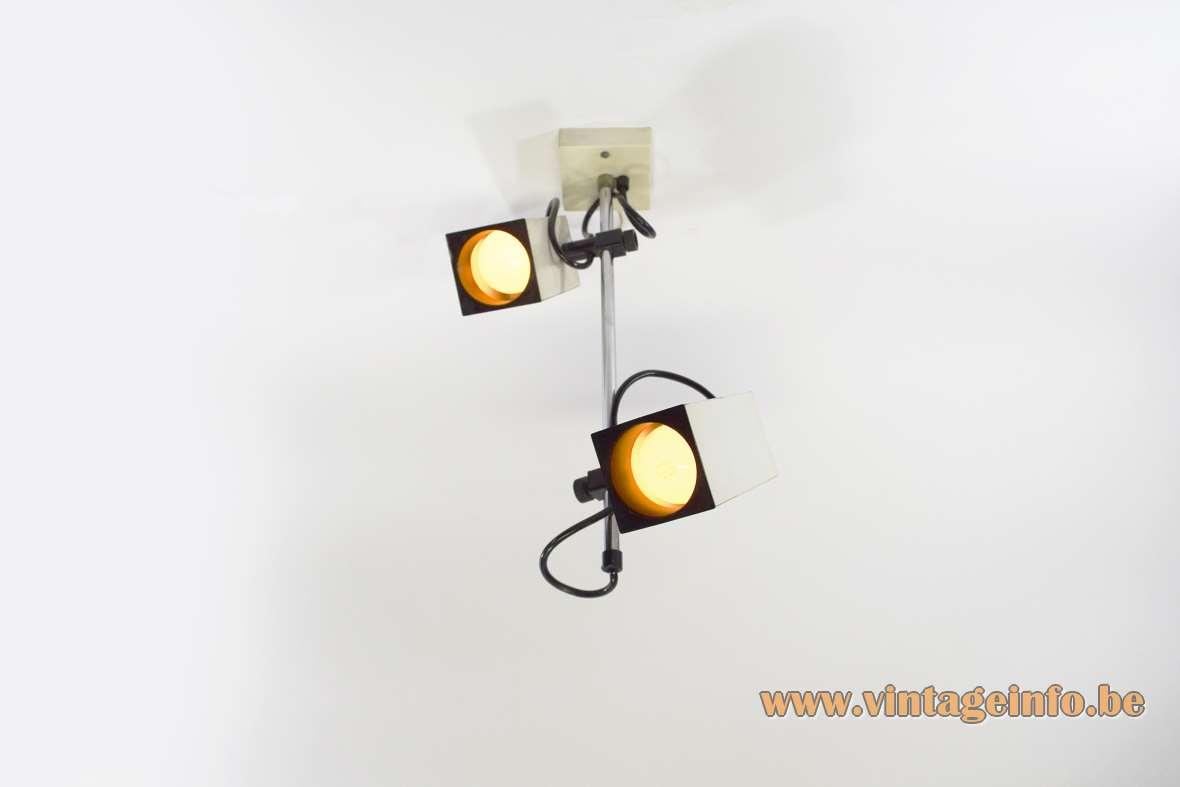 Double spotlight flush mount spots square tubes chrome rod Philips MCM black white 1970s MCM Mid-Century Modern