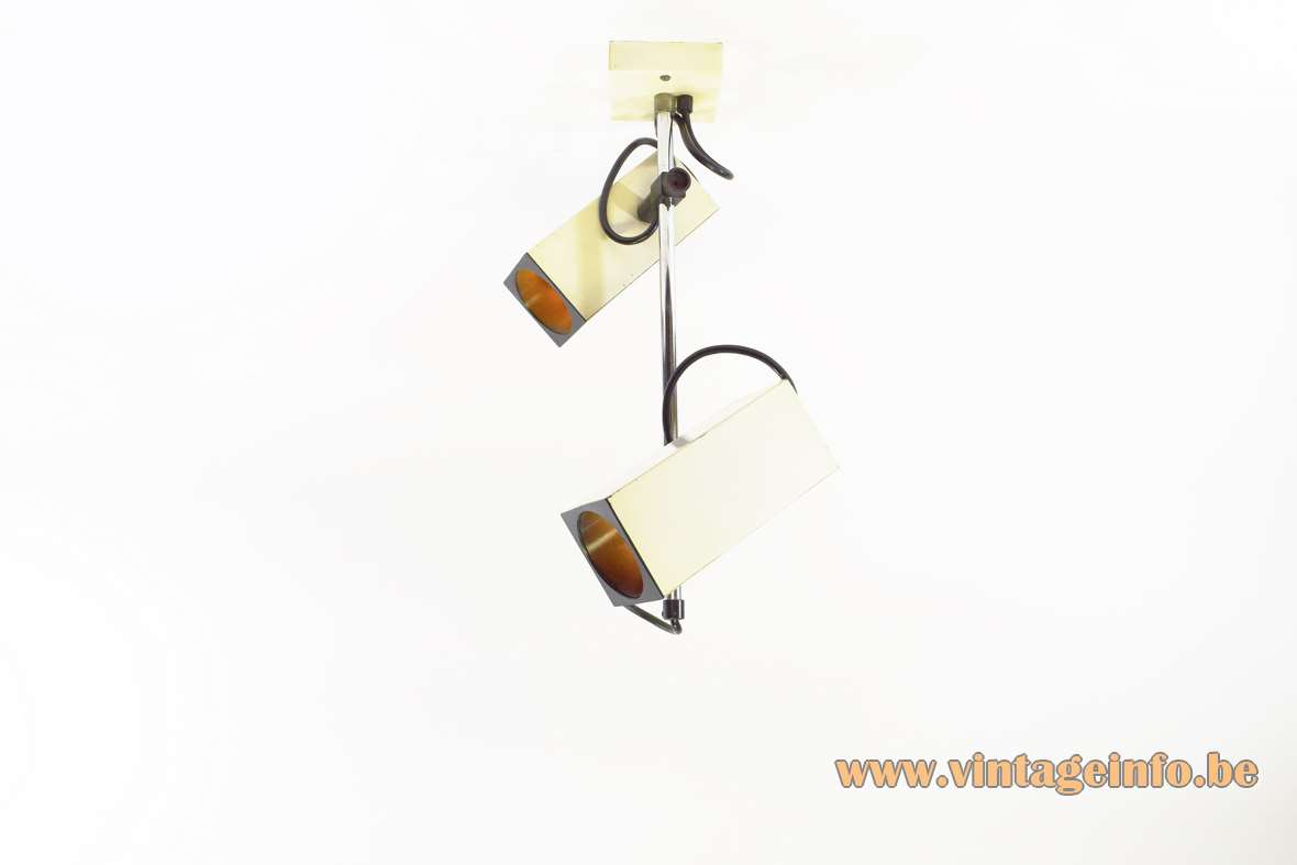 Double spotlight ceiling lamp square tubes and base chrome rod 1970s Massive Belgium MCM black white