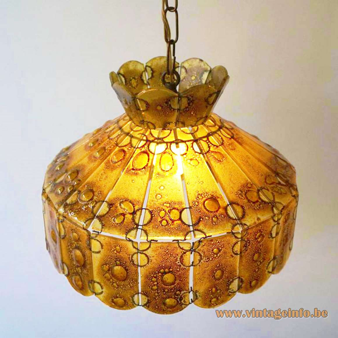 Filipe Derflinger Feder's Glass Chandelier amber mottled glass parts fused with metal Mexico 1960s 1970s