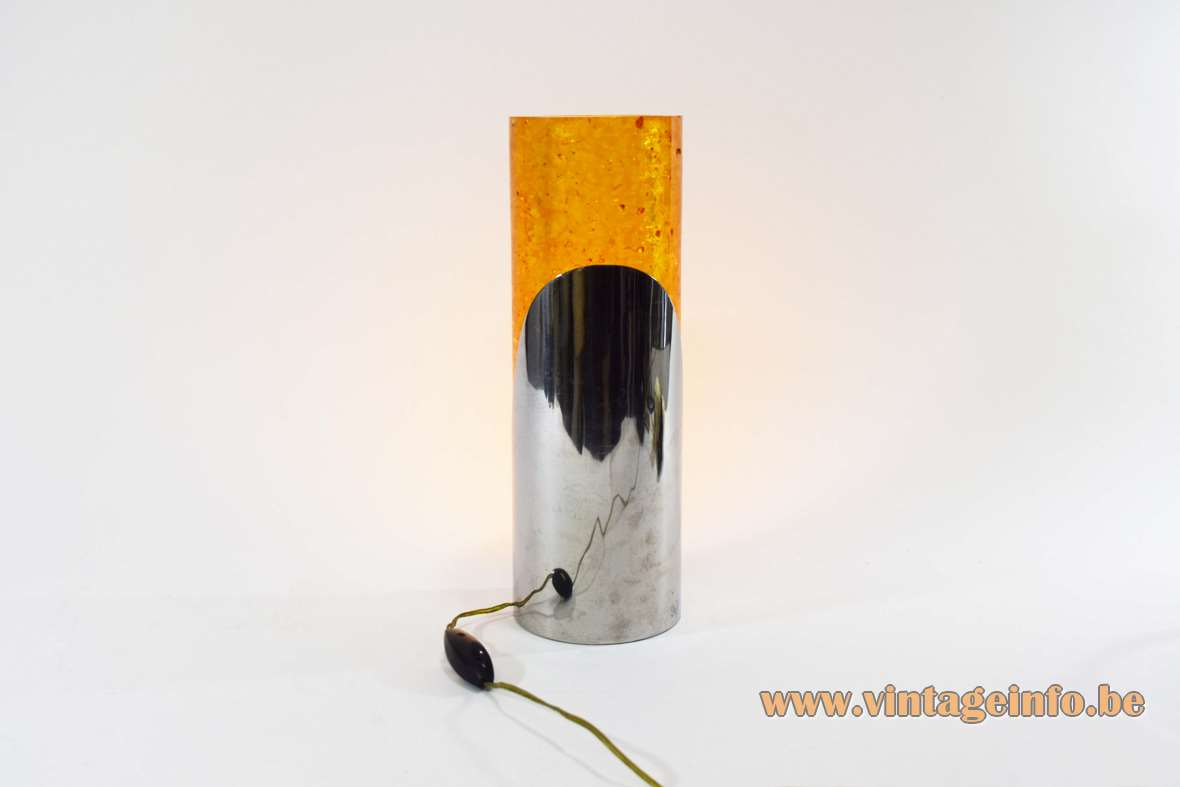 Fractal resin shatterline cylinder table lamp design: Pierre Giraudon, Marie Claude de Fouquieres Inox 1960s MCM