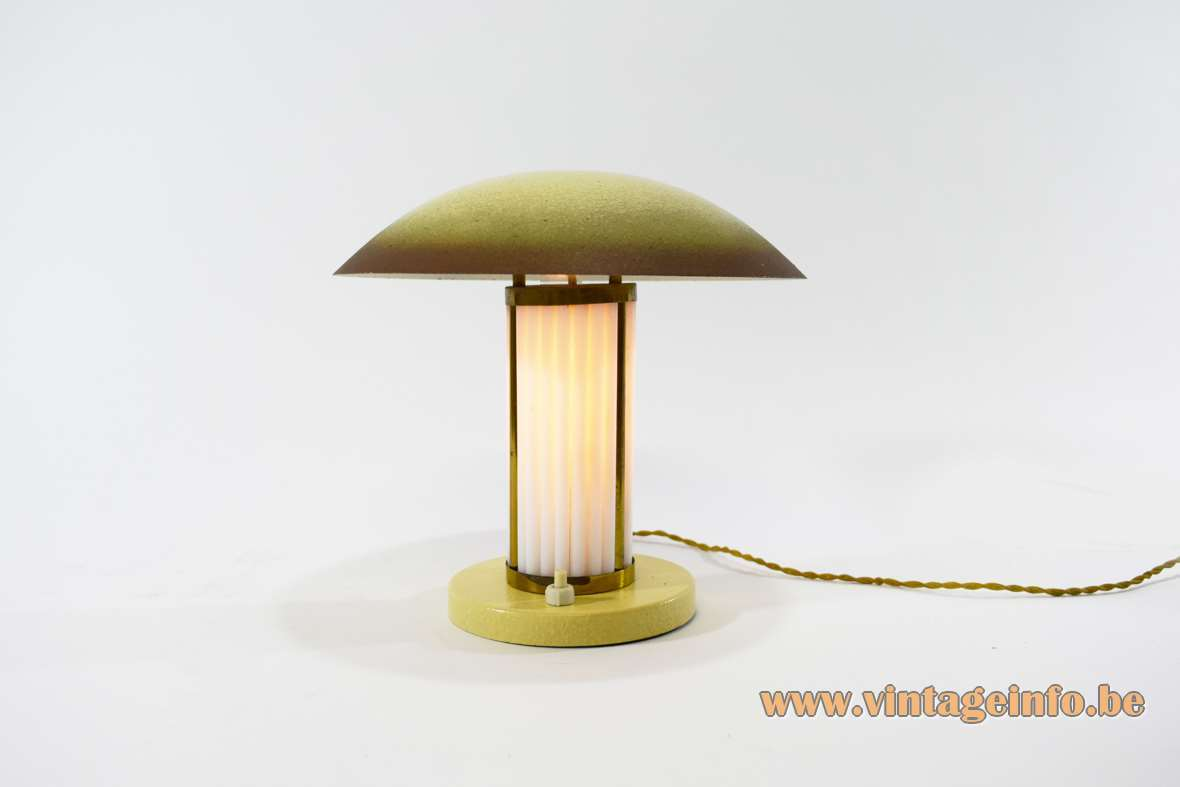 Art deco table lamp round metal brass opal glass rods tubes mushroom lampshade 1920s 1930s B22 socket Bauhaus