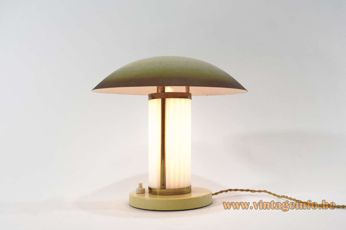 Table lamp made of metal and brass, 21 white opal glass rods, mushroom lampshade, 1920s 1930s