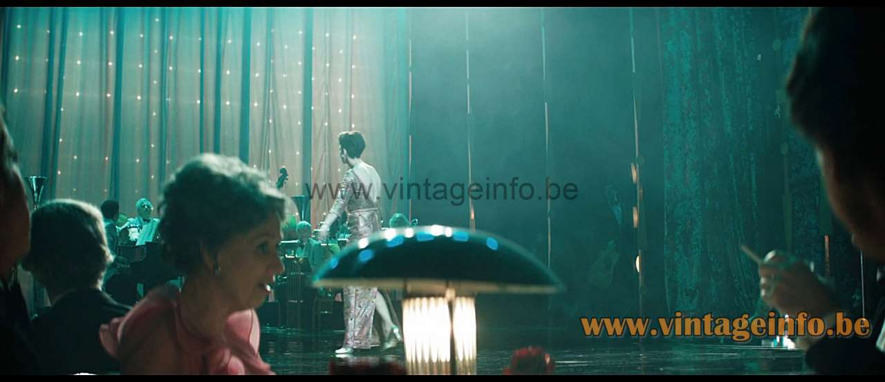 Glass rods art deco table lamp used as a prop in the film Judy (2019)