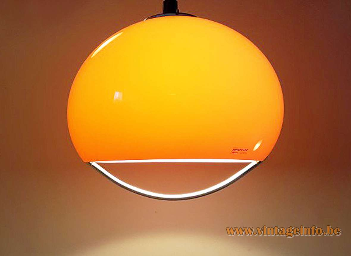 Harvey Guzzini Jolly Pendant Lamp Design: Luigi Massoni 1968 half round acrylic lampshade chrome handle 1970s