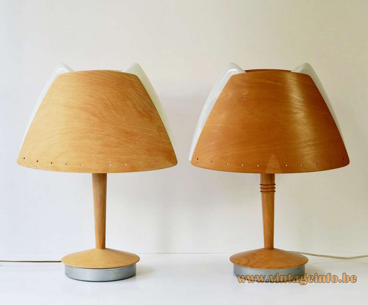 Lucid Harmonie table lamp design: Soren Eriksen curved beech wood lampshade white acrylic diffuser SEDAP 1990s