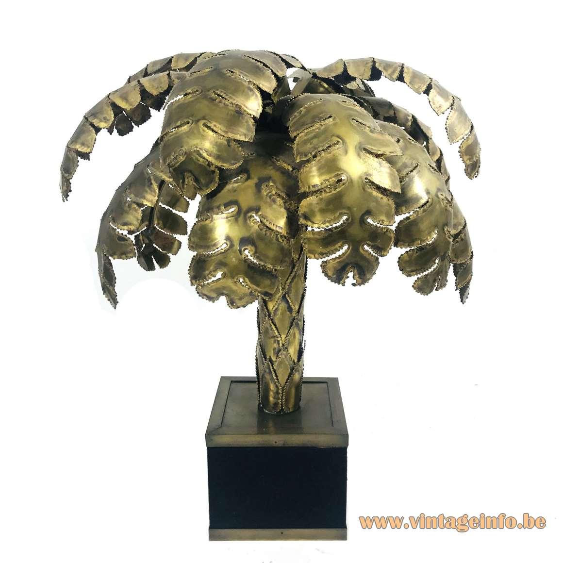 Maison Jansen palm tree table lamp square black base burned brass leaves & trunk 1970s 1980s France