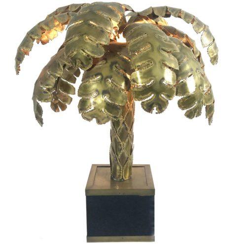 Maison Jansen Palm Tree Table Lamp made of burned brass square base 1970s 1980s Hollywood Regency