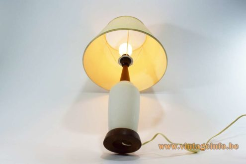 White opal glass & teak table lamp round wood base 1960s 1970s fabric lampshade Scandinavian modern