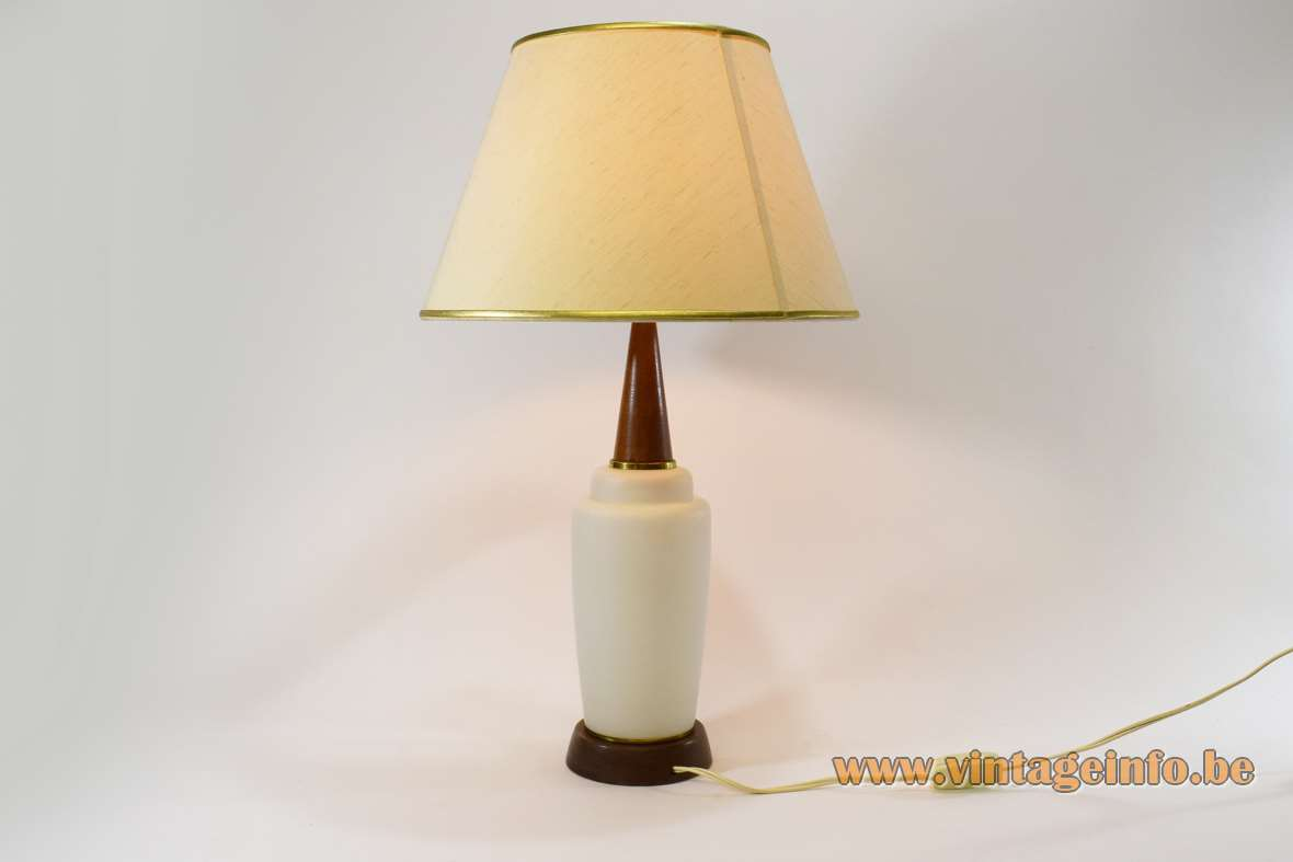 Opal glass & teak table lamp round wood base conical rod fabric lampshade 1960s 1970s