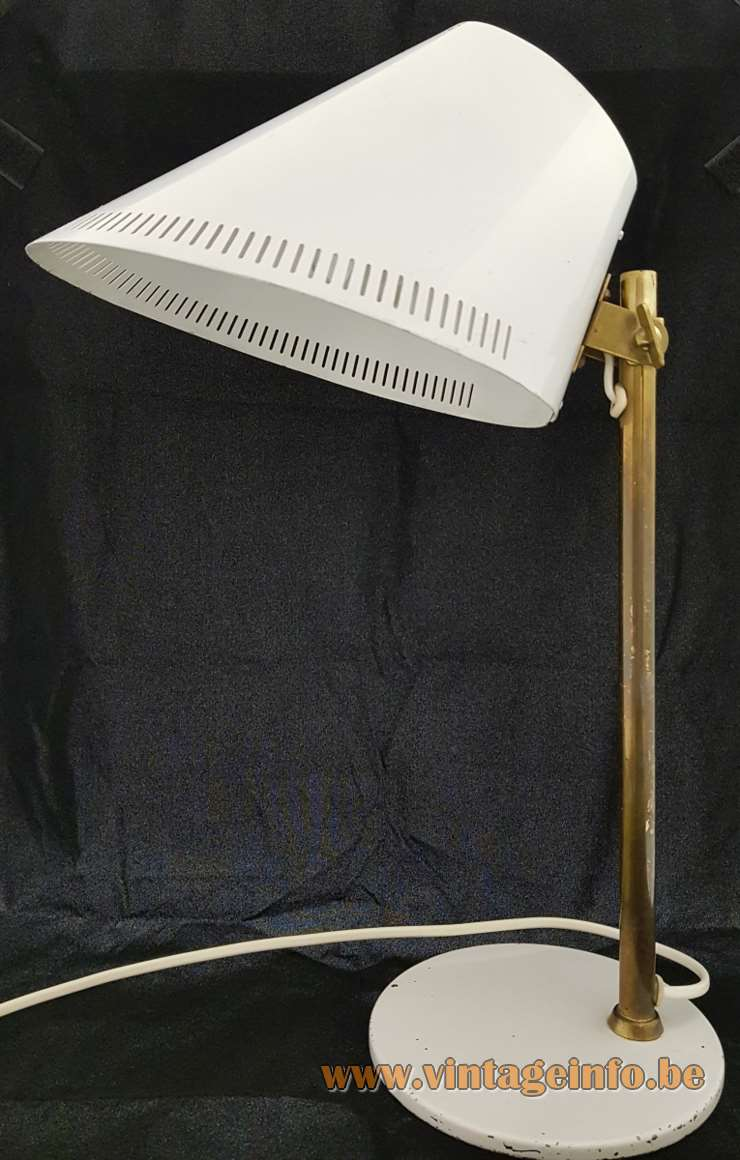 Paavo Tynell Taito Idman 9227 desk lamp flat round base white lampshade elongated slots 1950s 1960s